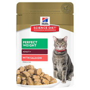 HILL'S SCIENCE DIET ADULT PERFECT WEIGHT SALMON POUCHES CAT FOOD