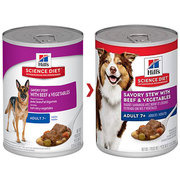 Hills Science Diet Adult 7+ Savory Beef & Vegetable Canned Dog food